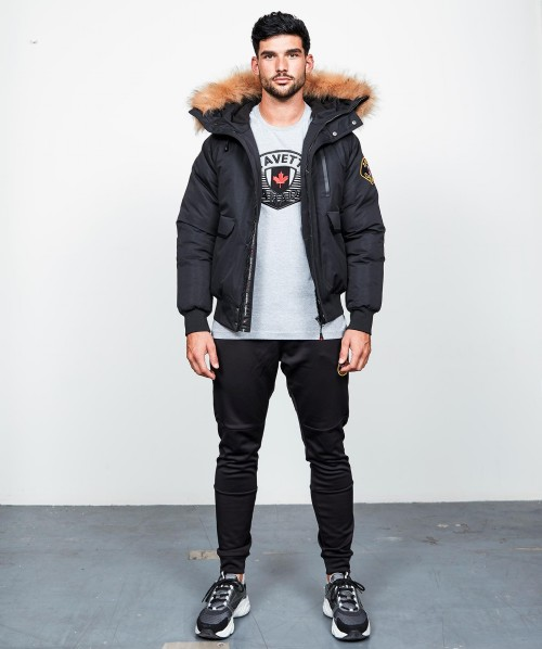Abelli Fur Trim Bomber Jacket