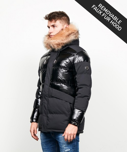 Roreto Matt Shine Faux Fur Parka